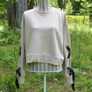 Zara Cropped Sweatshirt  Lace Up Sleeve  Medium